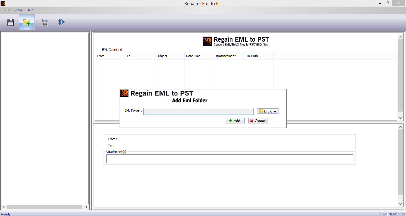 Regain eml to pst, EML to PST converter, eml to pst software, open EML into Outlook, EML converter, convert EML file, how to convert EML file, windows live mail to pst